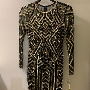 Beaded/sequined black party dress -NWT!